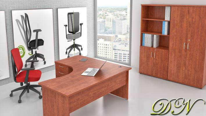 Sestava kancelářského nábytku Komfort 1.18, calvados - ZE 1.18 03