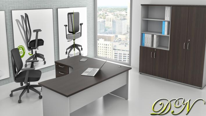 Sestava kancelářského nábytku Komfort 1.18, kaštan/šedá - ZE 1.18 07