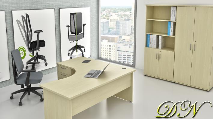 Sestava kancelářského nábytku Komfort 1.18, javor - ZE 1.18 12