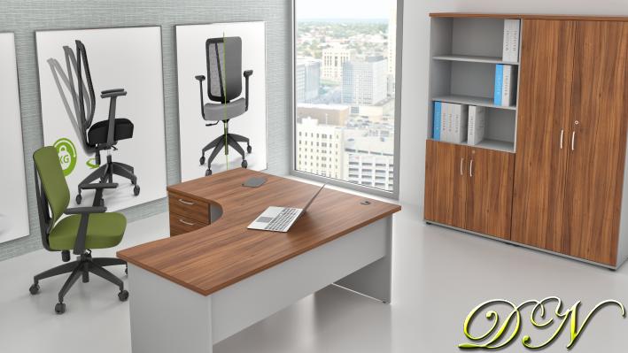 Sestava kancelářského nábytku Komfort 1.18, ořech/šedá - ZE 1.18 19