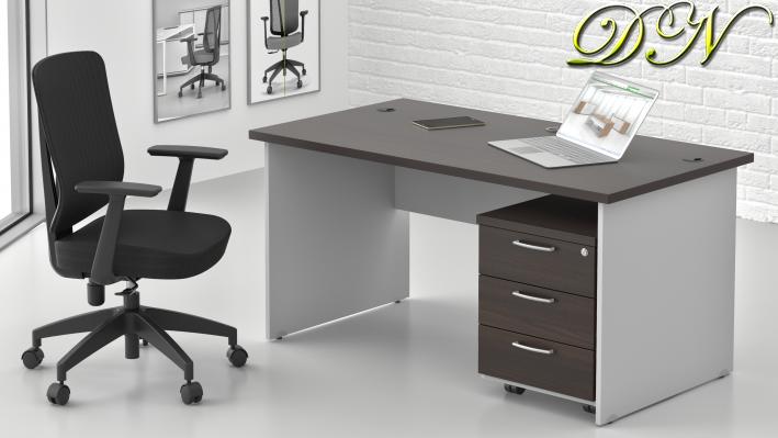 Sestava kancelářského nábytku Komfort 1.2, kaštan/šedá - ZE 1.2 07