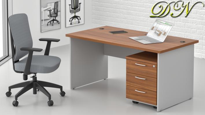 Sestava kancelářského nábytku Komfort 1.2, ořech/šedá - ZE 1.2 19
