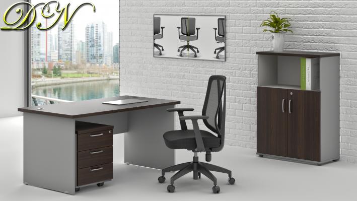 Sestava kancelářského nábytku Komfort 1.4, kaštan/šedá - ZE 1.4 07