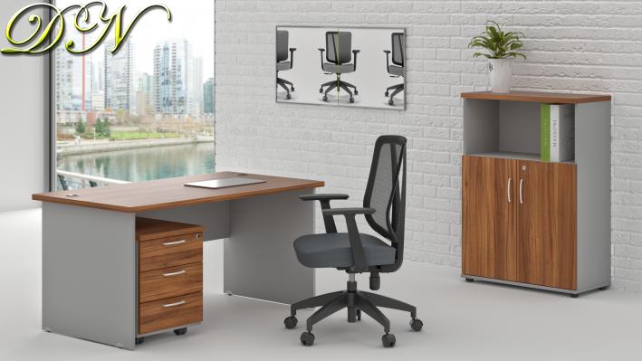 Sestava kancelářského nábytku Komfort 1.4, ořech/šedá - ZE 1.4 19