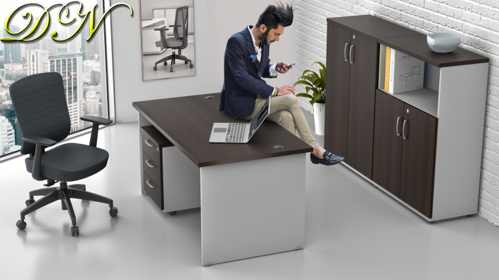 Sestava kancelářského nábytku Komfort 1.6, kaštan/šedá - ZE 1.6 07
