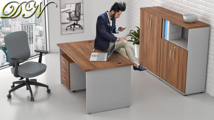 Sestava kancelářského nábytku Komfort 1.6, ořech/šedá - ZE 1.6 19