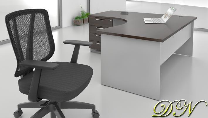 Sestava kancelářského nábytku Komfort 1.8, kaštan/šedá - ZE 1.8 07