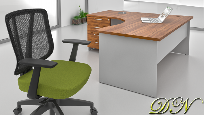 Sestava kancelářského nábytku Komfort 1.8, ořech/šedá - ZE 1.8 19