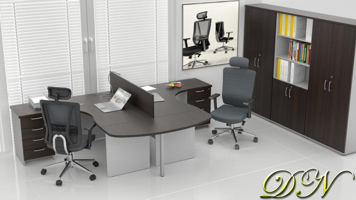 Sestava kancelářského nábytku Komfort 2.12, kaštan/šedá - ZE 2.12P 07