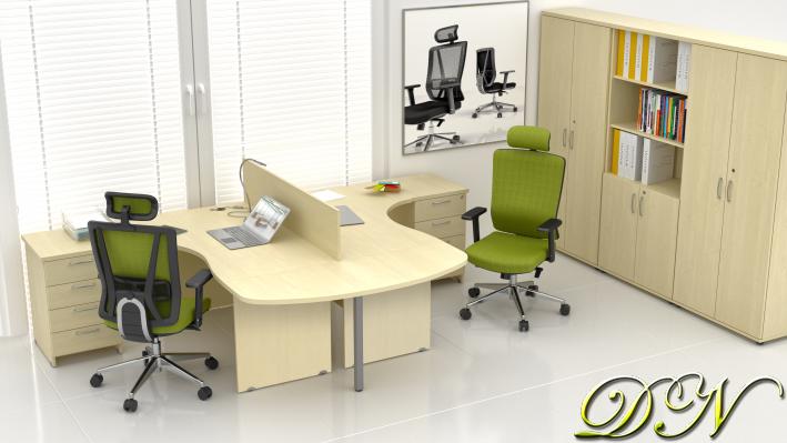 Sestava kancelářského nábytku Komfort 2.12, javor - ZE 2.12P 12
