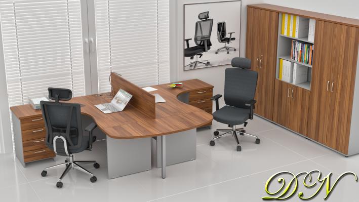 Sestava kancelářského nábytku Komfort 2.12, ořech/šedá - ZE 2.12P 19