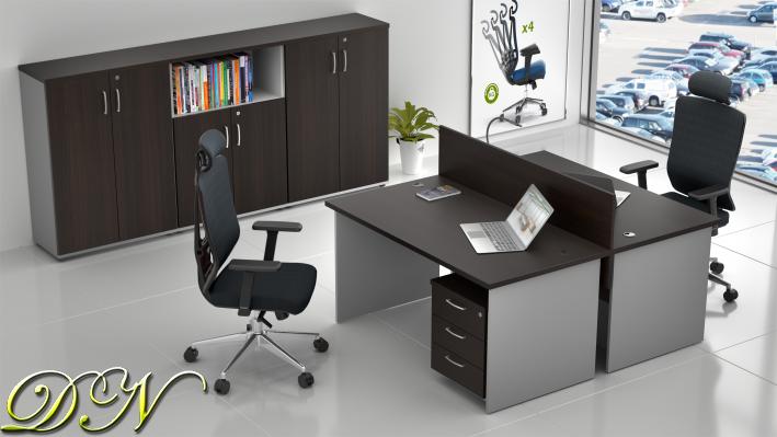 Sestava kancelářského nábytku Komfort 2.6, kaštan/šedá - ZE 2.6 07