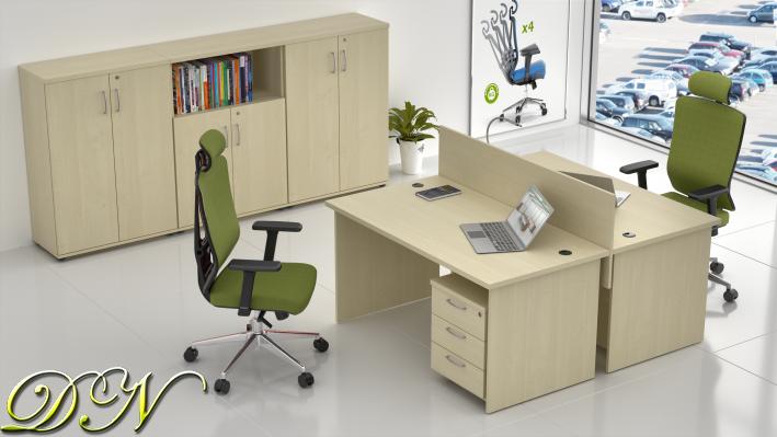 Sestava kancelářského nábytku Komfort 2.6, javor - ZE 2.6 12