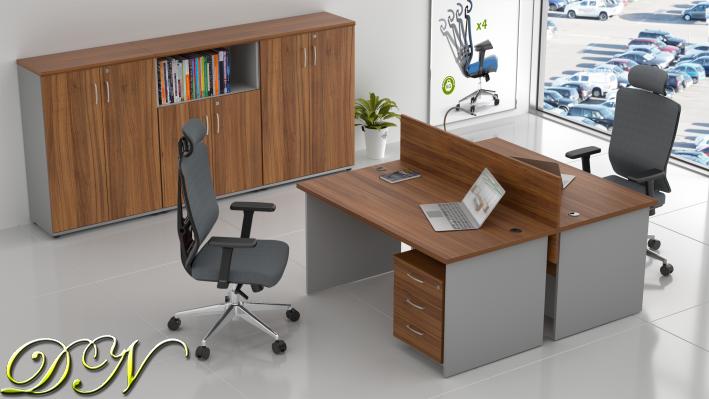 Sestava kancelářského nábytku Komfort 2.6, ořech/šedá - ZE 2.6 19