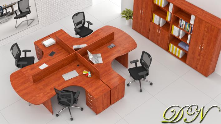 Sestava kancelářského nábytku Komfort 4.12, calvados - ZE 4.12P 03