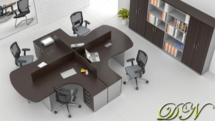 Sestava kancelářského nábytku Komfort 4.12, kaštan/šedá - ZE 4.12P 07