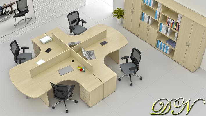Sestava kancelářského nábytku Komfort 4.12, javor - ZE 4.12P 12