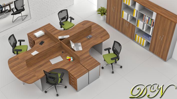 Sestava kancelářského nábytku Komfort 4.12, ořech/šedá - ZE 4.12P 19