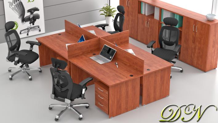 Sestava kancelářského nábytku Komfort 4.6, calvados - ZE 4.6 03
