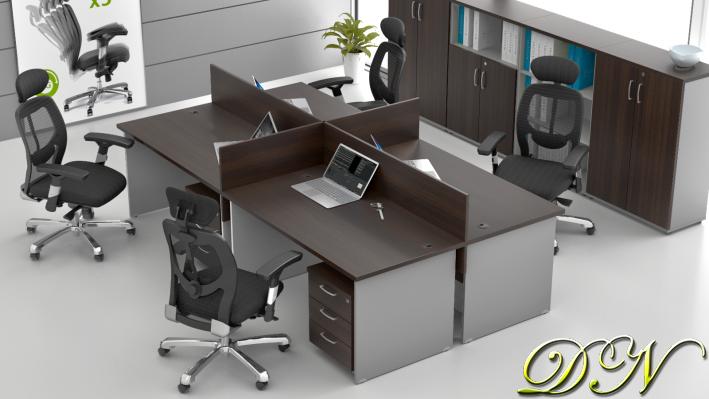 Sestava kancelářského nábytku Komfort 4.6, kaštan/šedá - ZE 4.6 07