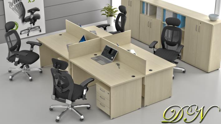 Sestava kancelářského nábytku Komfort 4.6, javor - ZE 4.6 12
