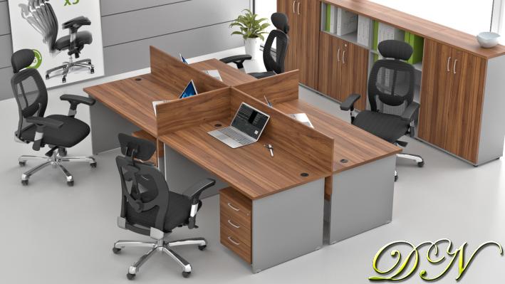 Sestava kancelářského nábytku Komfort 4.6, ořech/šedá - ZE 4.6 19