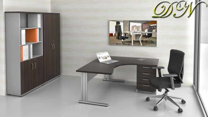 Sestava kancelářského nábytku Komfort 1.12, kaštan/šedá - ZEP 1.12 07