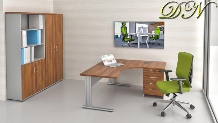 Sestava kancelářského nábytku Komfort 1.12, ořech/šedá - ZEP 1.12 19