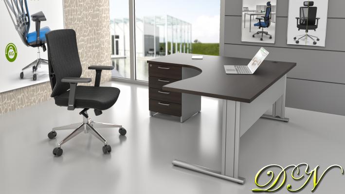 Sestava kancelářského nábytku Komfort 1.14, kaštan/šedá - ZEP 1.14 07