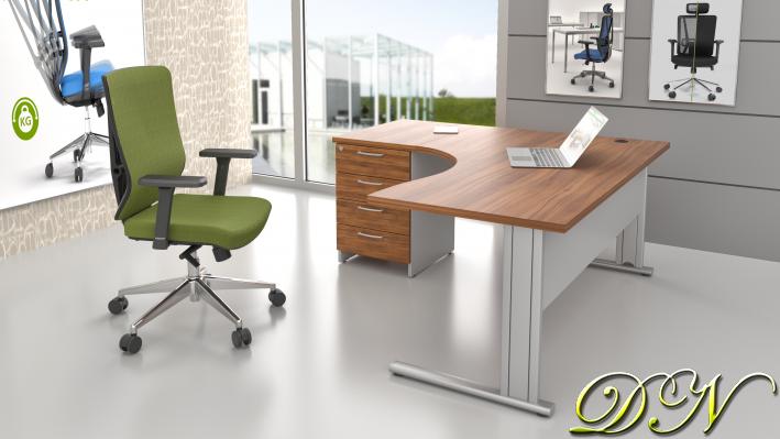 Sestava kancelářského nábytku Komfort 1.14, ořech/šedá - ZEP 1.14 19