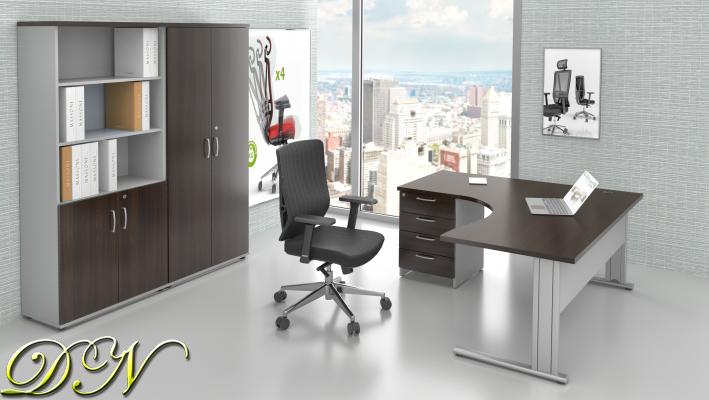 Sestava kancelářského nábytku Komfort 1.18, kaštan/šedá - ZEP 1.18 07
