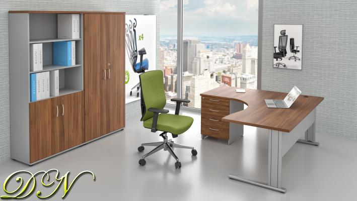 Sestava kancelářského nábytku Komfort 1.18, ořech/šedá - ZEP 1.18 19