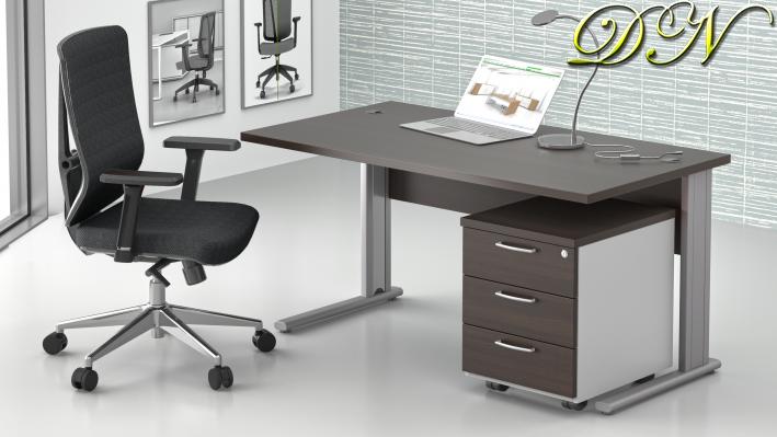 Sestava kancelářského nábytku Komfort 1.2, kaštan/šedá - ZEP 1.2 07