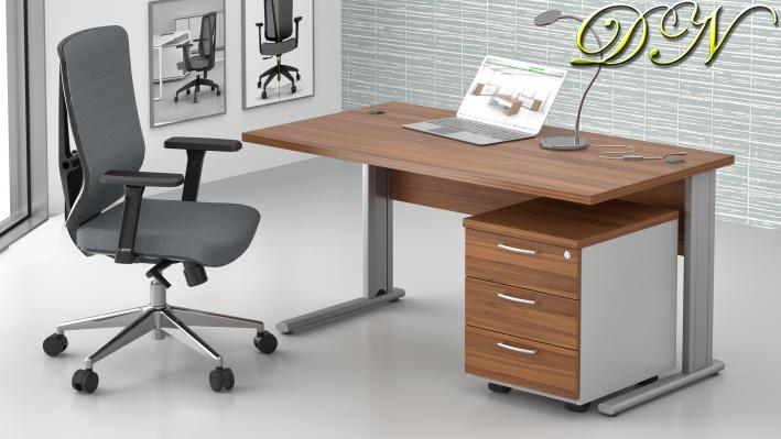 Sestava kancelářského nábytku Komfort 1.2, ořech/šedá - ZEP 1.2 19