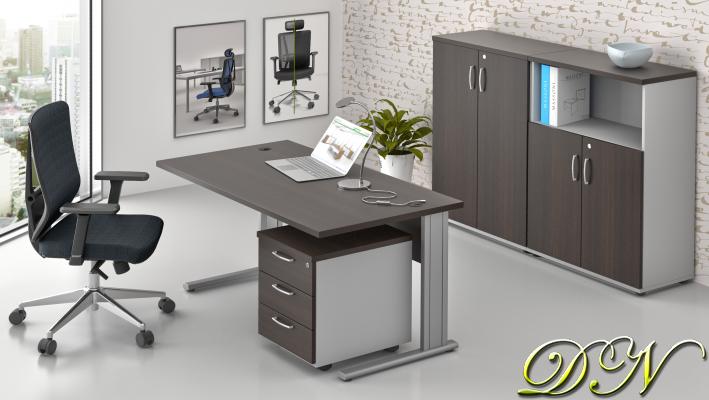 Sestava kancelářského nábytku Komfort 1.6, kaštan/šedá - ZEP 1.6 07