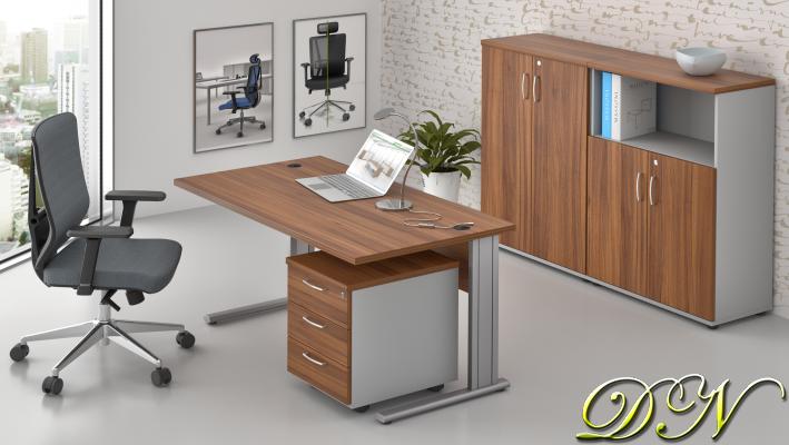 Sestava kancelářského nábytku Komfort 1.6, ořech/šedá - ZEP 1.6 19