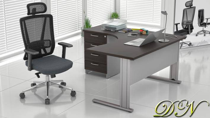 Sestava kancelářského nábytku Komfort 1.8, kaštan/šedá - ZEP 1.8 07