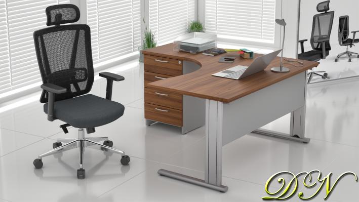 Sestava kancelářského nábytku Komfort 1.8, ořech/šedá - ZEP 1.8 19