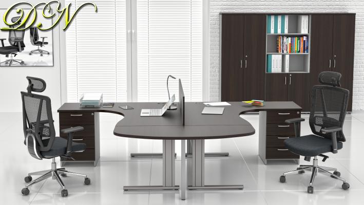 Sestava kancelářského nábytku Komfort 2.12, kaštan/šedá - ZEP 2.12P 07