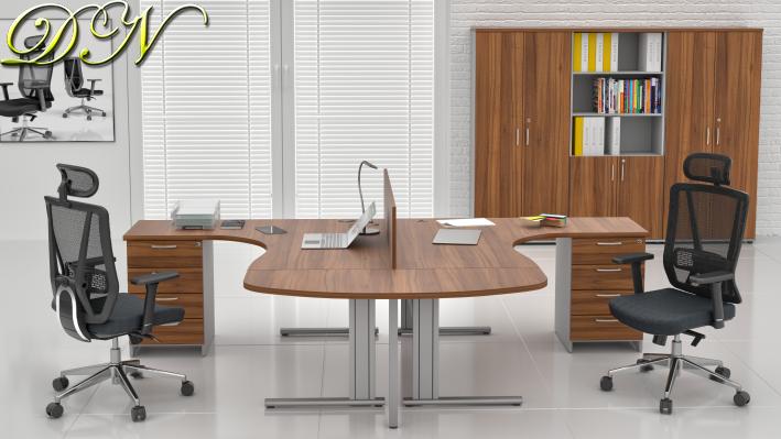 Sestava kancelářského nábytku Komfort 2.12, ořech/šedá - ZEP 2.12P 19