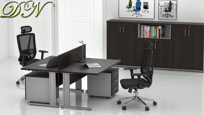 Sestava kancelářského nábytku Komfort 2.6, kaštan/šedá - ZEP 2.6 07