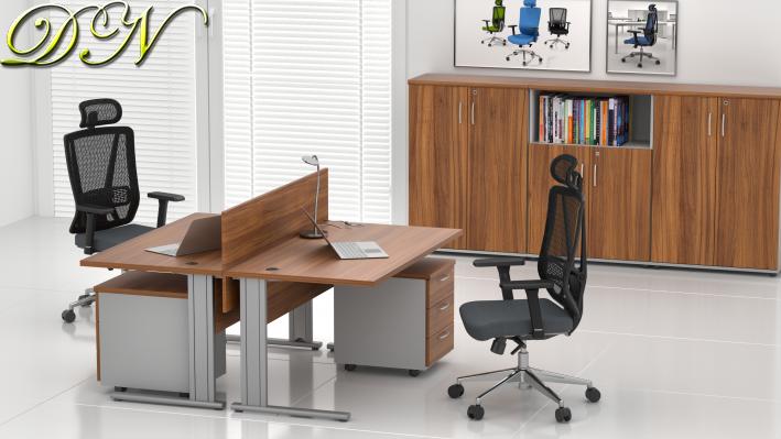 Sestava kancelářského nábytku Komfort 2.6, ořech/šedá - ZEP 2.6 19