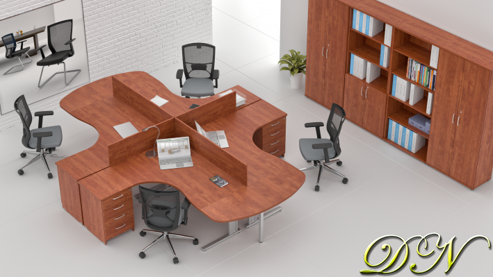 Sestava kancelářského nábytku Komfort 4.12, calvados - ZEP 4.12P 03