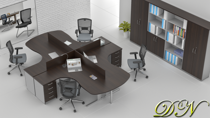 Sestava kancelářského nábytku Komfort 4.12, kaštan/šedá - ZEP 4.12P 07