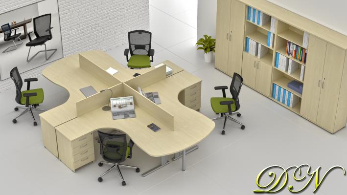 Sestava kancelářského nábytku Komfort 4.12, javor - ZEP 4.12P 12