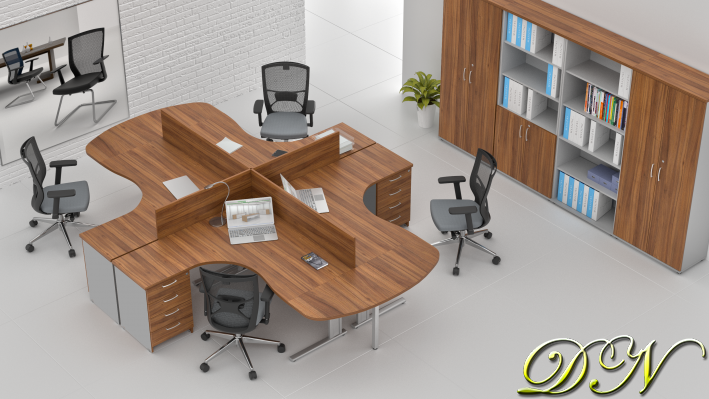 Sestava kancelářského nábytku Komfort 4.12, ořech/šedá - ZEP 4.12P 19