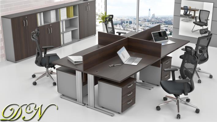 Sestava kancelářského nábytku Komfort 4.6, kaštan/šedá - ZEP 4.6 07