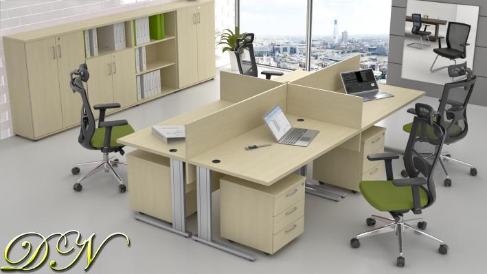 Sestava kancelářského nábytku Komfort 4.6, javor - ZEP 4.6 12