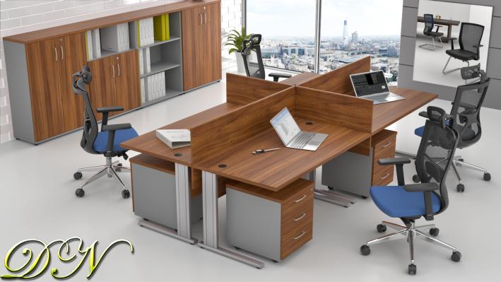 Sestava kancelářského nábytku Komfort 4.6, ořech/šedá - ZEP 4.6 19